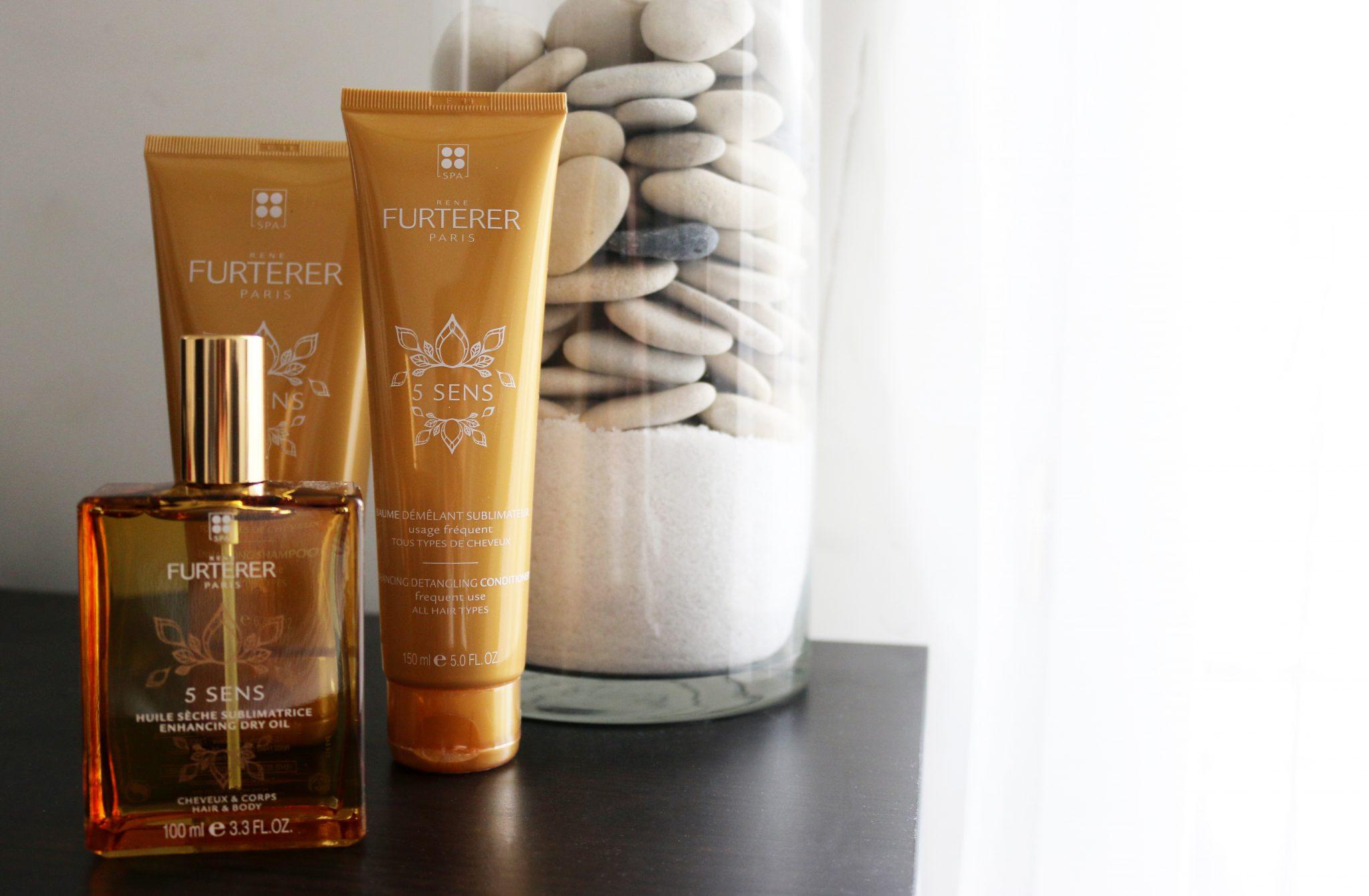 Pflege der fünf Sinne. Kosmetikprodukte zur Haarpflege Rene Furterer Paris 5 Sens